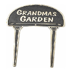 Renovators Supply - Garden Signs Polished Brass Garden Sign Grandmas Garden | 17134 - Garden Sign, Outdoor Plaque. Be proud to showoff your garden! Made of 100% brass each is polished and lacquered to resist tarnishing and will provide a lifetime of good use. A wonderful gift idea for a gardener! Measures: 4 3/8 inch x 11 1/16 inch