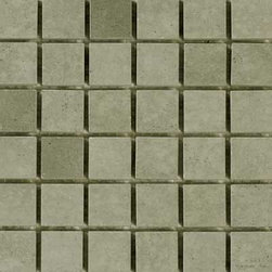 "Glass Tile Oasis - Avocado 1"" x 1"" Green Sandstone Series Tumbled Natural Stone - Sheet size: 12"" x 12"""
