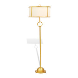 """Port 68 - Logan Brass Floor Lamp - The Logan floor lamp's mid-century modern appeal sets the living room, bedroom or office aglow. A slender brass base meets with round chain links for a light fixture with understated elegance. Sleek and unique, the lamp's inset beige polyester shade offers depth and dimension. Accepts two 75W bulbs (not included). 3-way switch. Lamp with shade: 20"""" Diameter x 61""""H. Shade: 20"""" Diameter x 9""""H. Cord: 8'L."""