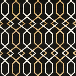 "Surya - Surya Horizon HRZ-1044 (Charcoal, Gold) 7'10"" x 10'3"" Rug - These Turkish made rugs feature transitional designs set in a durable, comfortable polypropylene pile. Surya's Horizon collection allows the buyer to attain sophistication and elegance for their home without requiring a king's ransom. The color palette makes use of slate blue, charcoal, olive, and gold."