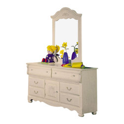 Standard Furniture - Standard Furniture Diana 31 Inch Mirror - Diana gives your princess her own Victorian retreat. Wood products with simulated wood grain laminates. This group may contain plastic parts. Some pieces feature open panel construction with metal roller bearing glides. Other pieces feature folded case side construction with center-mounted runners. Mirrors are back mounted and reinforced. Brushed-white, brass color swing bail pulls and clear plastic knobs. Simulated, white wash wood grain color. Surfaces clean easily with a soft cloth.