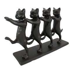 Rustic Cast Iron Dancing Cats Statue - This wonderfully detailed cast iron dancing cats statue is a perfect gift for cat lovers. Measuring 7 1/4 inches tall, 11 1/2 inches long and 3 inches wide, it has a beautiful black and brown enamel finish, that gives it a rustic, aged look. It makes a great doorstop.