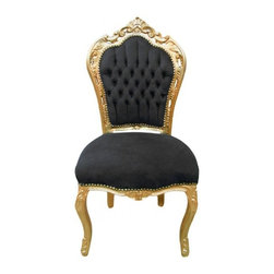 Lansky Studio - Annabelle French Louis XVI Style Chair - Add some elegance to your dining room with this beautiful chair in the french louis xv style. The solid mahogany wooden frame is finished in gold with beautiful hand carvings. The chair is upholstered in black faux leather and deep tufted on the back. Comes with gold nail heads shown.