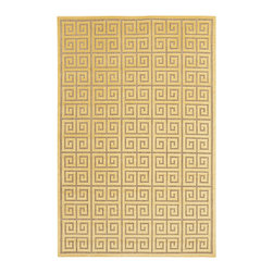 Surya - Neutral & Yellow Greek Key Rug - Crafted from a stain-resistant material, this bright rug features a geometric pattern that adds a dramatic look to the living room floor.   0.16'' thick Olefin Spot clean Imported