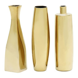 "Benzara - Huangpu Attractive Ceramic Vase 3 Assorted - Introducing fascinating 3 assorted ceramic vases that will add charm to your room space. This ceramic vase comes in a set of three each feature glassy brown color finish with smooth texture. This ceramic vase can be added to your living space or just kept on a table top, side tables else similar other set ups.Friends and other visitors paying a visit over your place will be surprised to check out this magnificent assorted ceramic vase. They'll be enticed to add one to their interiors. Besides, this assorted ceramic vase can also be gifted to your near and dear ones to surprise them immensely. Get this ceramic vase right away. Beautiful Ceramic Vase 3 Assorted measures 3.5 inches (W) x12inches (L), 3 inches (W) x3 inches (L) x12 (H), 3 inches (W) x3 inches (L) x 12 inches (H); Glassy brown color finish; Smooth finish; Dimensions: 13""L x 4""W x 12""H"