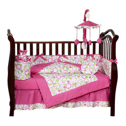 Sweet Jojo Designs - Pink Circles 9-Piece Crib Bedding Set - Hush little baby, don't you cry ... because you have bedding soft as the sky. This nine-piece bedding set features playful bright pink green circles and a level of comfort that any adult will be jealous of.