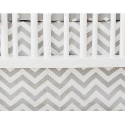 "New Arrivals Inc. - Gray Chevron Zig Zag Crib Skirt - The Gray Chevron Zig Zag Crib Skirt has a 17"" drop."