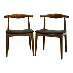 Sonore Solid Wood Mid-Century Style Accent Chair Dining Chair (Set of 2) - With a retro-inspired design and tastefully rounded lines, the Sonore Chair is a great way to beautify your dining room.  Each chair has a solid wood frame including a gently curved back with medium wood stain resembling walnut.  The seat is padded with dense foam and finished off with soft faux leather in black.  Also included are opaque plastic non-marking feet for additional stability and for added protection of sensitive flooring.  Assembly is required.