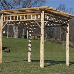 Fifthroom - White Cedar Log Pergola - Extending your outdoor living space has never been this easy! A new addition to our line of quality Pergolas, this White Cedar Log Pergola is constructed of northern white cedar logs, giving it a rustic yet elegant look. Naturally rot-resistant, white cedar also is resistant to wood-boring insects, making it an ideal choice for outdoor use. A truly versatile structure, this pergola can be attached to a new or existing patio or deck.