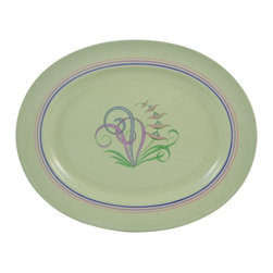 Spode Flemish Green on base - Consigned Three Graduated Serving Platters in Green with Moondrops - Vintage English Spode set of three graduated oval serving platters, in Flemish green with stylised moondrop flower decor.