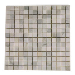 "Asian Statuary Marble Tile - Asian Statuary 3/4""x3/4"" Stone Tile The Asian Statuary Marble gives a high-end, timeless look to any room. This tile can be used as a feature wall, back splash, fireplace, bathroom or kitchen installation. Chip Size: 3/4""x3/4"" Color: Asian Statuary Material: Stone Finish: Polished Sold by the Sheet - each sheet measures 12"" x 12"" (1 sq. ft.) Thickness: 8mm Please note each lot will vary from the next."
