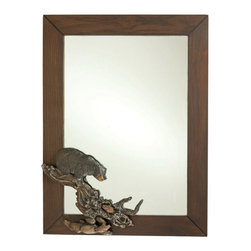 Demdaco - Bear Wall Mirror Wood and Hand-Cast Rustic Wall Mirror - Rustic  Mirror  for  the  Bear  Lover          This  unique  rustic  wall  mirror  features  a  bear  just  about  to  make  the  catch  of  the  day.  Made  of  wood  and  hand-cast  resin,  it's  the  perfect  addition  to  your  cabin,  lodge,  or  rustic  decor.                  Measures  18  W  x  24  H              Materials:  Wood,  hand-cast,  mirror              Includes  hanging  hardware