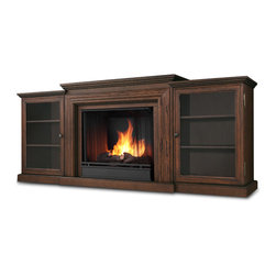 Chestnut Oak Frederick Gel Fuel Fireplace & Entertainment Unit - The Fredericks pronounced firebox trim, bordered glass doors and rich finish options add to the antique feel of this classic entertainment mantel. Capable of safely supporting a television of 100 lbs. or less while adjustable shelving accommodates most electronics and other objects. The hand- painted log set and bright crackling flame add to the realistic look of this Real Flame Gel Fuel Fireplace. Uses 3 - 13oz. cans of Real Flame Gel Fuel. Available in Blackwash and Chestnut Oak finishes.