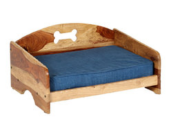 """Rustic"" Pet Bed with Orthopedic Foam Mattress, Medium - Handcrafted out of gorgeous solid Sheesham wood, this sophisticated rustic elevated pet bed will complement your home's decor. The genuine denim cover over the orthopedic foam cushion enhances the country-style feel. Admired by everyone, this high quality bed will give your pet a comfortable place to sleep for years to come."
