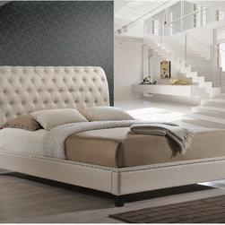 Baxton Studio Jazmin Tufted Light Beige Modern Bed with Upholstered Headboard -