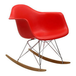 Sunset Rocking Chair, Red - Not your grandma's rocking chair. This mid-century retro modern chair is sure to rock your world. Whether your rocking your baby to sleep or rockin' out to your favorite records, this chair was made for the modern home.