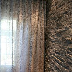 Faux stone wall and custom sheers/gray - Anne B.