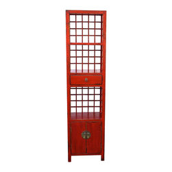 Mortise & Tenon - Vintage Red Bookcase Cabinet - The perfect small bookcase for any room and any interior style.