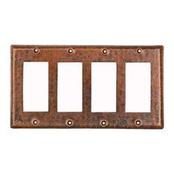 Premier Copper Products - Premier Copper Products SR4 Switchplate Cover - Quad Ground Fault/Rocker GFI - Copper Switchplate Quadruple Ground Fault/Rocker Cover GFI
