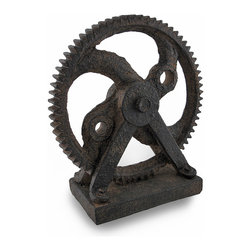 Zeckos - Industrial Steampunk Rusted Iron Finish Decorative Gear/Cog Sculpture - Inspired by the beauty of simple machines from the industrial revolution, this unique gearwheel sculpture would look amazing in an office to highlight your desk or in your home on a bookcase, table surface or anywhere you want to add an industrial accent Made from polystone, it has been carefully hand-painted in a handsome rust finish that really makes it look vintage, and measures 9 inches (23 cm) high, 8 inches (20 cm) long and 3 3/4 inches (9.5 cm) wide. This gear sculpture would make a wonderful gift for any steampunk or industrial and mechanical fans