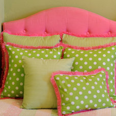 Kids Bedding Preppy Pink and Green Pillows