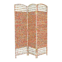 Oriental Furniture - 5 1/2 ft. Tall Recycled Magazine Room Divider - 3 Panels - Made from recycled Asian magazine pages woven onto kiln dried, mitered wood frames. Hand-woven design means each panel is a one-of-a-kind mixture of color with Chinese calligraphy characters visible in the magazine print. Environmentally-friendly contemporary style compliments modern American and European eclectic interior design.