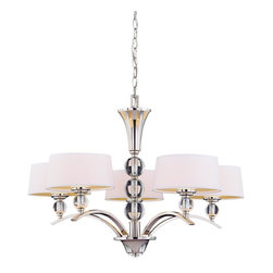 Savoy House Lighting - Savoy House 1-1035-5-109 Murren 5 Light Chandelier, Polished Nickel - A Transitional look, combining the best of Traditional and Contemporary styles, with a cleaner, less ornamented design.  The Polished Nickel finish works well with the hardback white fabric shades. This versatile family includes a rod hung three light trestle and an assortment of incredibly unique pendants and bath bars.