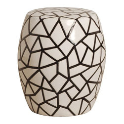 Crackle Ceramic Garden Stool/Table - The crackled design of this garden stool gives it a different, more contemporary look. It's a great graphic piece that would fit well with contemporary outdoor furniture.