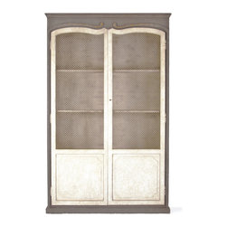 Kathy Kuo Home - Dorsey Putty White French Country Gray Mesh Tall Cabinet - A French Country kitchen or dining room wouldn't be complete without a nostalgic pie safe. Large, double doors with chicken wire allow contents to be seen but remain protected. A muted mix of grey and cream accentuate the pine and poplar cabinetry. The spacious storage provided by the bottom shelf is hidden with the solid wood portion of the doors while three shelves provide display space.