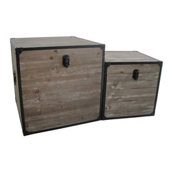 Industrial Square Trunks - Go on a journey without leaving home. These square industrial trunks hint of travels abroad, perfect for storage in a modern industrial space. Whether you use them for winter blankets or fine linens, these wooden trunks with black metal trim are just the place to store your valuables.