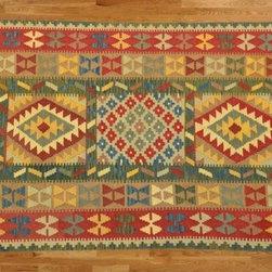 Kilim Qasqagi - 100% Wool Hand Woven 4'3'' X 6'10'' Flat Weave Multicolored Kilim Oriental Area Rug.