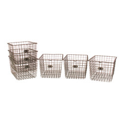 Kathy Kuo Home - Industrial Loft Locker Wire Storage Baskets, Set of 6 - These deep locker baskets bring a stylish sense of order to any chaos within your modern living area or workspace. Their sturdy wire construction holds your office supplies and housewares with ease, while their see-through mesh design makes it easy to identify and grab only what you need. Their angled shape allows for them to be conveniently stacked when not in use.