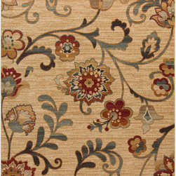"""Surya - Surya Arabesque ABS-3027 (Beige) 2'7"""" x 7'3"""" Rug - The traditional colors of brown, beige, and burgundy are mainstays of the Arabesque collection, but not all of the designs are traditional. Some rugs take traditional patterns and alter the scale and symmetry to add a unique, transitional flair to the rug. With these polypropylene rugs, you get the best of both worlds, beauty and affordability."""