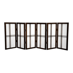 Oriental Furniture - 2 ft. Tall Desktop Double Cross Shoji Screen - Walnut - 6 Panels - Adapted from the traditional Japanese design, this elegant folding screen is made from Shoji rice paper and Scandinavian spruce with an elegant double cross lattice. Shoji paper has been used for over a thousand years due to its beauty, translucence, and lightweight design, and this folding screen continues this tradition of quality with a two foot design perfect for a table or desktop, a modified window treatment, or a chic decorative accent.