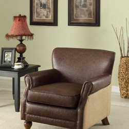 None - Antique Brown Leather and Natural Jute Club Chair - Relax in style as you enjoy a movie or novel from the comfort of this leather club chair. Brown leather and jute cover the seat's plush foam filling, and a beautiful brown finish complements the durable wooden legs of this elegant chair nicely.