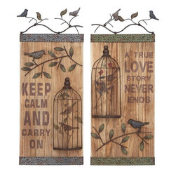 Benzara - Wall Art Assorted Durable and Long Lasting - Set of 2 - Ideal to be kept indoors or outdoor to offer serenity to the surroundings, this set of wall art is perfect for modern and conventional decor as well. You can enhance the peace and charm of your surroundings with this set of two assorted wall arts. Spreading love and calm messages, these wall arts are so soothing to look at, you might want to reserve the best corner of your room to hang them up. It is decorated with birds sitting on branches with leaves that add to its appeal and offer freshness to your ambience. You can easily hang it on your living room wall or in your bedroom to give your ambience a calming and positive effect. Made with the finest quality wood in a charming design, it offers durability and a long life while retaining its fresh looks and appeal.