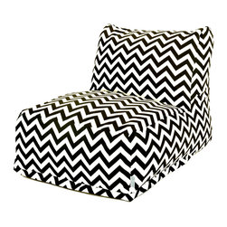 Majestic Home - Outdoor Black Chevron Bean Bag Chair Lounger - Add style and functionality to your living room, family room or outdoor patio with the Majestic Home Goods Bean Bag Chair Lounger. This Beanbag Chair has the design of modern furniture, while still giving the comfort of a classic bean bag. Woven from outdoor treated polyester, these loungers have up to 1000 hours of U.V. protection and are able to withstand all of natures elements. The beanbag inserts are eco-friendly by using up to 50% recycled polystyrene beads, and the removable zippered slipcovers are conveniently machine-washable.