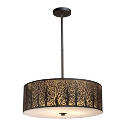 Elk Lighting - Woodland Sunrise 5-Light Pendant in Aged Bronze - Etched into stainless steel, a serene tree-lined meadow is revealed with intricate branch detailing. An aged bronze finish with an amber diffuser maximizes the realism of the setting.