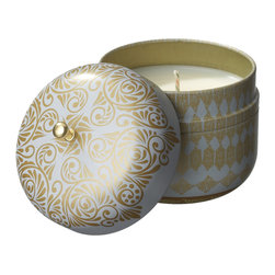 Everybody's Ayurveda - Bliss Sculpted Travel Tin - White - This tridoshic fragrance inspires happiness and helps maintain dosha balance. Our Sculpted Travel Tin comes in a container that is perfectly sized to go where you go and is filled with 100% natural soy wax. Once the candle is enjoyed, container can be repurposed to store cosmetic items. Repurposing the candle's tin helps to reduce post-consumer waste. Approximate burn time: 30 hours. Container is 3.75 in. tall x 3.5 in. wide.