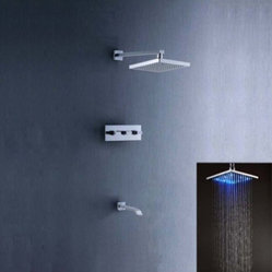 JollyHome Wall Mounted Square Rainfall LED Shower Set