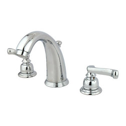 Kingston Brass - Two Handle 8in. to 16in. Widespread Lavatory Faucet with Retail Pop-up - Two Handle Deck Mount, 3 Hole Sink Application, 8in. to 16in. Widespread, 3 hole 8in. to 16in. center spread installation, Fabricated from solid brass material for durability and reliability, Premium color finish resists tarnishing and corrosion, 1/4 turn On/Off water control mechanism, 1/2in. IPS male threaded inlets with rigid copper piping, Duraseal washerless cartridge, 2.2 GPM (8.3 LPM) Max at 60 PSI, Integrated removable aerator, 5-1/4in. spout reach from faucet body, 6in. overall height.