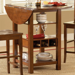 Bernards - Ridgewood Drop Leaf / Wine Rack Table - Mahogany/Mahogany Finish - Mahogany finished drop leaf pub table features a rich finish over selected hardware and veneers. Pub table offers 2 shelves and wine storage perfect for that small dining area.