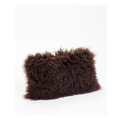 Moe's Home Collection - Moe's Home Lamb Fur Rectangular Pillow in Dark Brown (Set of 2) - Soft furry decorative cushion