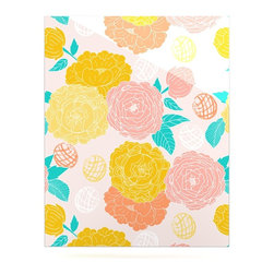 """Kess InHouse - Anneline Sophia """"Peonies Peach"""" Yellow Pink Metal Luxe Panel (16"""" x 20"""") - Our luxe KESS InHouse art panels are the perfect addition to your super fab living room, dining room, bedroom or bathroom. Heck, we have customers that have them in their sunrooms. These items are the art equivalent to flat screens. They offer a bright splash of color in a sleek and elegant way. They are available in square and rectangle sizes. Comes with a shadow mount for an even sleeker finish. By infusing the dyes of the artwork directly onto specially coated metal panels, the artwork is extremely durable and will showcase the exceptional detail. Use them together to make large art installations or showcase them individually. Our KESS InHouse Art Panels will jump off your walls. We can't wait to see what our interior design savvy clients will come up with next."""