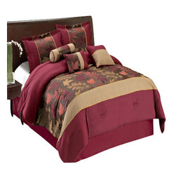 Bed Linens - Diana 11-Piece Bed in a Bag King Size - The colors of this set are combination of Burgundy, Chocolate Brown, and Taupe