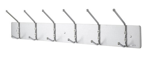 Safco - Six Hook Wall Rack - Greenguard certified. Includes mounting hardware. Greenguard certified. Capacity of 10 lbs. per hook. Satin aluminum paint. Made from aluminum (platform) and steel (hooks). Silver color. Assembly required. 36 in. W x 3.75 in. D x 7 in. H (3.87 lbs.). Assembly InstructionMake a great impression with your guests rain or shine! Make sure each guest has a place for their hats, coats and scarves. This wall rack can greet guests in your reception area, lobby, office, waiting room, training center, conference room or classroom. Now all your guests will feel like they're at home.
