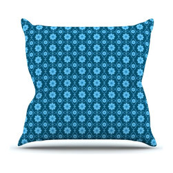 "KESS InHouse - Nandita Singh ""Floral Blue"" Aqua Pattern Throw Pillow, Outdoor, 18""x18"" - Decorate your backyard, patio or even take it on a picnic with the Kess Inhouse outdoor throw pillow! Complete your backyard by adding unique artwork, patterns, illustrations and colors! Be the envy of your neighbors and friends with this long lasting outdoor artistic and innovative pillow. These pillows are printed on both sides for added pizzazz!"
