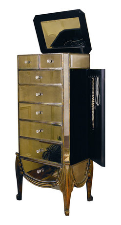Bassett Mirror - Collette Mirrored Jewelry Chest - Antique Mirror with Gold and Silver Leafing. Measures: 23 in. W x 17 in. D x 53 in. H. Part of the Collette Collection.