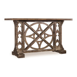 Hooker Furniture - Rafferty Console - If you ever get lost in your home, check the compass on this console. Inspired by an old-world compass, this planked wood console table is finished in a faux stone wash.