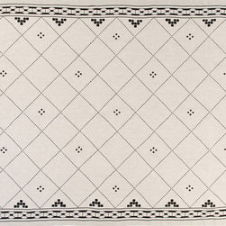 """Huddleson - Anfa Black and Natural Linen Tablecloth, 66""""x144"""" - Beautiful undyed natural Italian linen printed with a Moroccan tile motif and interlocking chain border in two shades of black."""